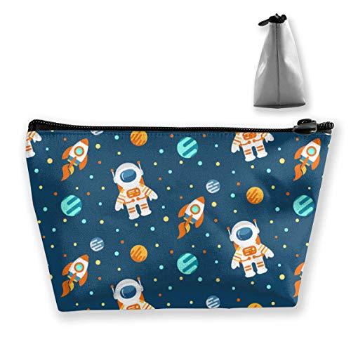 Bolsa de Maquillaje Resistente al Agua Duradera Espacio Grande Astronautas Planetas Cohetes Almacenamiento Trapezoidal Bolsa de Viaje Lavado Bolsa cosmética Porta lápices Cremallera