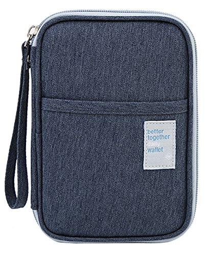 iSuperb Waterproof Oxford Travel Passport Wallet Credit Card Holder Clutch Travel Document Organizer for Card Cash Ticket Mobile with Hand Strap (Dark Blue)