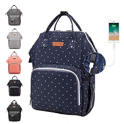 Baby Wickelrucksack, Ramotto Multifunktionale Wasserdichte Wickeltasche mit USB-Kabel Kinderwagen-haken Isolierte Tasche für Unterwegs, Große Kapazität (Blau Punkt)