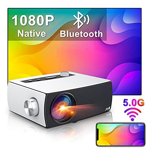 Proiettore Wifi Bluetooth, Artlii Enjoy3 Proiettore Full HD, 1080P Nativo Supporta 4K, Dolby AC3, 2.4G/5G WiFi, Proiettore Portatile 300' Home Theater per iOS, Android, PPT, PS4,5
