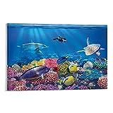 HYQHYX Decoración de habitación infantil – Acuario – Océano, tortuga, delfín, arrecifes de coral, sala de estar, dormitorio, pintura de 50 x 75 cm