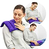 Nature Creation Microwavable Heating Pad for Cramps - Herbal Hot and Cold Pack for Relief of Arthritis Back Pain, Tired Muscle After Work Out, Headaches, and to Relax After a Long Day (Purple Marble)