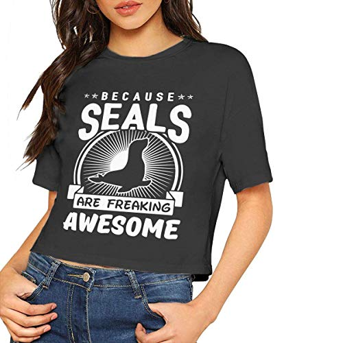 Jeffhd_tee Womens Cool Short Sleeve T-Shirt Because Seals Are Freaking Awesome Crop Tops