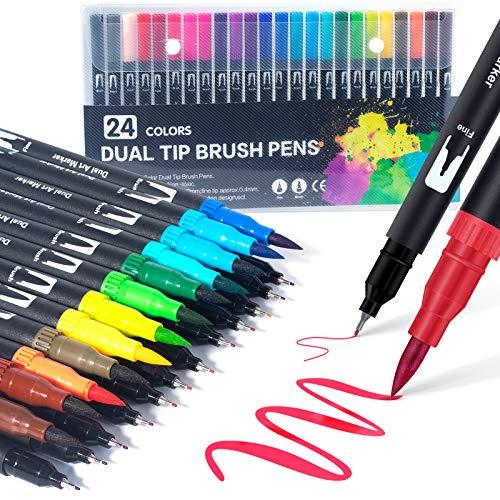 Dual Brush Pen Set: Filzstifte 24 Farben Pinselstifte Marker Fineliner Set Aquarell Farben Für Bullet Journal, Malbücher, Handlettering, Manga Kalligraphie stifte Malstifte Für Kinder und Erwachsene