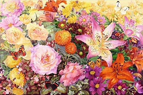TOPJPG Puzzle 1000 Piece Madera Jigsaw Regalos Flores Coloridas Juegos Interactivos Familiares, Classic Rompecabezas de Juguete