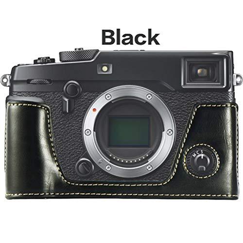 WMWX Custodia per Fotocamera Fujifilm/Fuji X-pro2, Base per Fotocamera in Pelle Fatta a Mano, Custodia per Batteria Rimovibile,Nero
