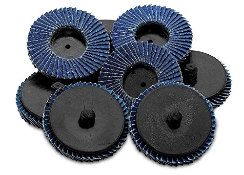 Flap Discs 40 Grit Quick Change Grinding Wheels 10 Pieces 2'' - For Rotary Tools, Die Grinder, Drill, Blending And Finishing Applications, By Katzco