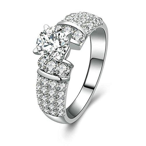 Beydodo Anelli Argento Fidanzamento Donna Gioielli Matrimonio Sposa con Rotonda Brillante Diamante Taglia 10-27