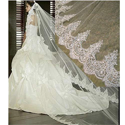 Ivoor bruiloft sluiers Lange bruidssluiers met Comb Mooi Kathedraal lengte Lace Appliques Edge Bruiloft accessoires voor Bride, 2 Tier, 3M / 4M / 5M,3m