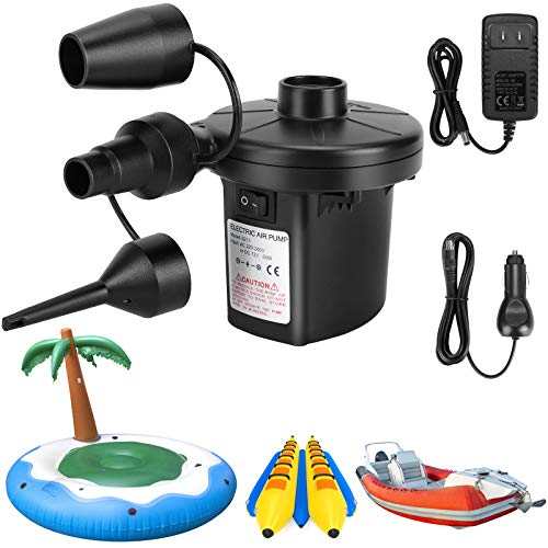 Air Pump for Inflatables, Portable Quick-Fill Electric Air Mattress Pump with 3 Nozzles, Inflator & Deflator Pumps for Outdoor Camping, Pool Floats, Inflatables Couch, Swimming Ring, 12V DC/110V AC