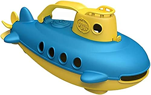 Green Toys Submarine in Yellow & blue - BPA Free Phthalate Free Bath Toy with Spinning Rear Propeller. Safe Toys for Toddlers Babies