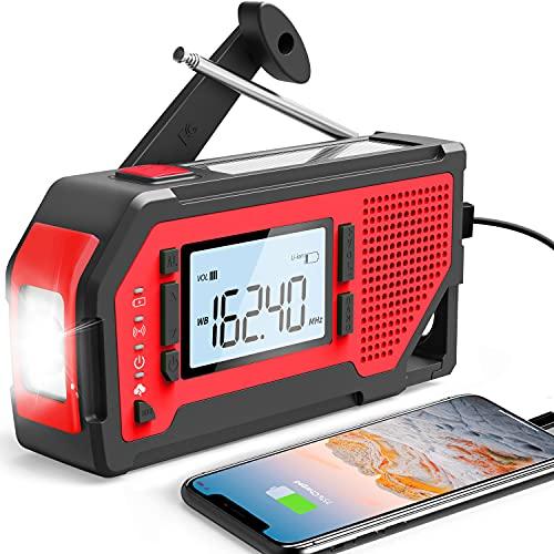 Emergency Radio Weather Alert Radio Solar Hand Crank Radio AM/FM/NOAA Weather Radio for Household and Outdoor, LED Flashlight, Earphone Jack, Bottle Opener