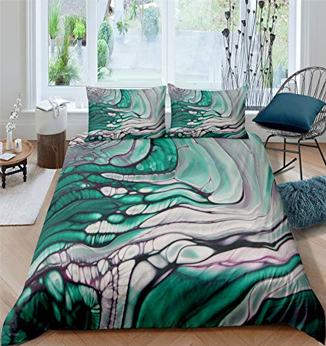 MGORJGR Green Blue Marble Adult Bedding Set Microfiber Solid Bedclothes Nordic Home Duvet Cover Pillowcases Single Twin Double