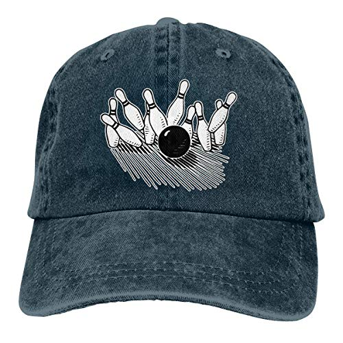 Unisex Baseball Cap Baumwolle Denim Hut Bowling Ball Markante Bowling Pin verstellbare Snapback Solid Hat Net rot 3238