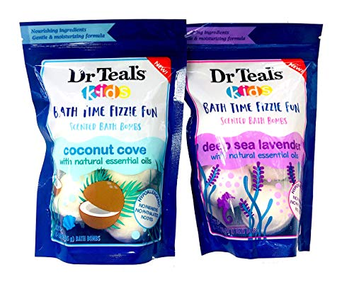 Dr Teal's Kids Bath Bombs Fizzie Scented Hypoallergenic Deep Sea Lavender and Coconut Cove Set by JDM19