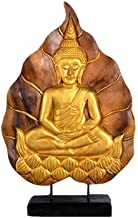 PPCP Southeast Asia Wind Wood Carving Gold Foil Bodhi Leaf Buddha Family Office Decoration Buddha Sculpture Spirit Gift Sm...