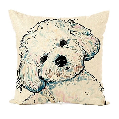 Easternproject Cute Pet Dog Painting Cotton Linen Throw Pillow Case Cushion Cover Square Animal Pillow Covers Home Decor 18 x 18 Inch (6# Poodle)