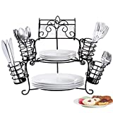 Buffet Organizer with Scroll Design, 7-Piece Set for Plates, Napkins and Cutlery