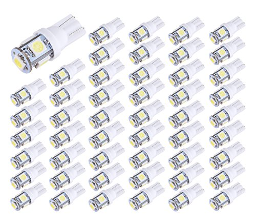Aucan LED 50-Pack White Replacement 194 T10 168 2825 W5W 175 158 Bulb 5050 5- SMD LED Light, 12V Car Interior Lighting For Map Dome Lamp Courtesy Trunk License Plate Dashboard Lights