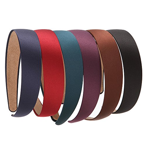 LONEEDY 6 PCS Hard Headbands, 1 Inch Wide Non-slip Ribbon Hairband for Women