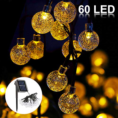 Solar Lichterkette,Vegena 11M 60LED 8 Modi Solar Garten Lichterkette Kristall Kugel Wasserdicht Solarbetrieben Lichterkette Party Lichterkette (Warmweiß) (Warmweiß)