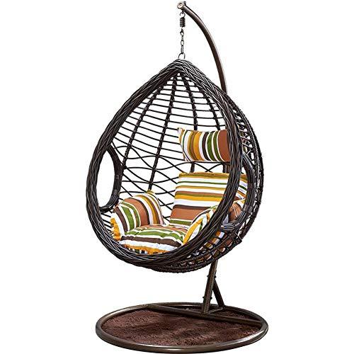 DFGH Silla Colgante de Ratán para Colgar en Forma de Huevo, Reposabrazos para Silla, Muebles de Jardín para Exteriores/Interiores, Patio, Marrón