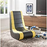 Posh Living Rockme Video Gaming Rocker Chair for Kids Teens Adults & Boys or Girls - Black with Yellow