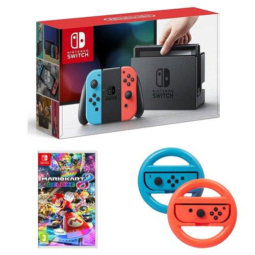 Console Nintendo Switch Neon + Mario Kart 8 Deluxe + 2 volants