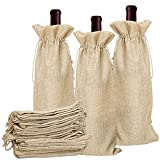 AFASOES 10 Pcs Bolsas de Yute para Botellas de Vino de 75cl con Cordón 34 x 14 cm Bolsa de Regalo para Botella Bolsas de Tela para Vino Bolsas para Regalar Vino para Navidad Boda Fiesta de Cumpleaños
