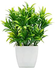 A.S. Flowers - Beautiful Artificial Real Looking Bamboo Plant in Realistic Green Leaves with White Colour Plastic Pot Vase for Home Office Decor