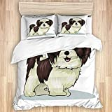 CVSANALA Cómodo Juego de Funda nórdica para Dormitorio, Beige Shitzu Shih Tzu Perro Mascota Adorable Cachorro Aseo Peludo 3 Piezas de Lujo Suave Juego de Cama (sin edredón)