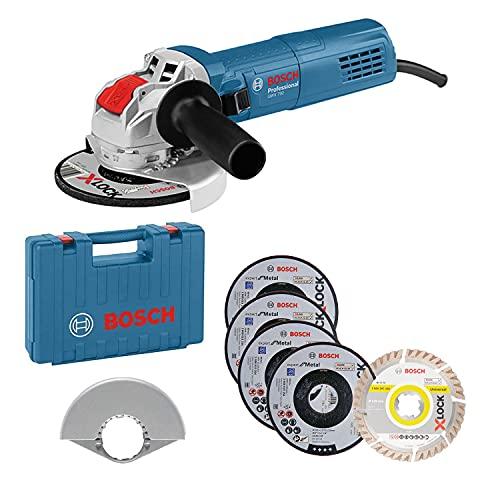 Bosch Professional Meuleuse d'Angle GWX 750-125 (Disque Ø 125 mm avec Jeu de 5 Disques de Tronçonnage et de Meulage, Housse de Protection 125 mm, en Coffret) - Amazon Exclusive Set