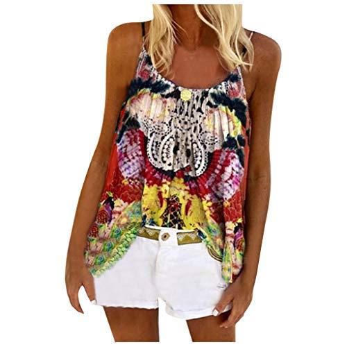 ZHANSANFM Damen Sommer Bluse Ärmellose Gänseblümchen Drucken Doppelschicht Tank Top Shirt V-Ausschnitt Hawaii Böhmen Weste T Shirt Elegant Hemdbluse Loose fit (XL, rot-d)