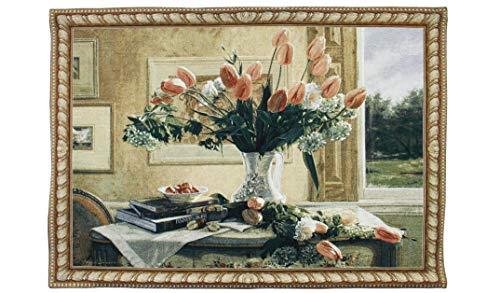 Signare Appendiabiti a parete di arazzo - Tulipani in vaso - 136cm x 98cm