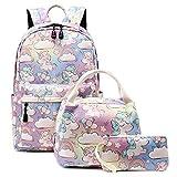 Abshoo Cute Lightweight School Boobag Kids Unicorn Backpacks for Girls Backpacks with Lunch Bag (B Unicorn Rainbow)