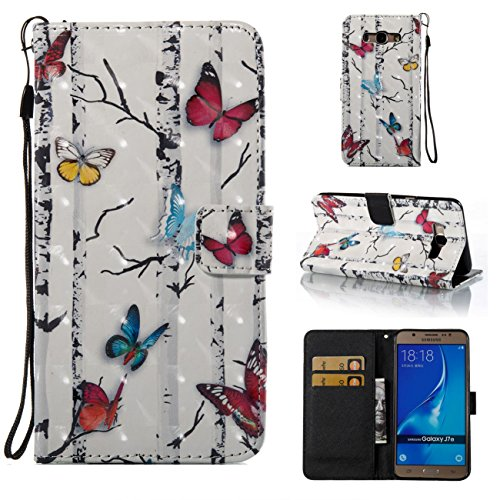 Galaxy J7 2016/J710 Case,Lightweight PU Leather Wallet Case Kickstand Flip Book Cover with Credit Card Slot Xmas Birthday Gift for Daughter Sun Girlfriend for Samsung Galaxy J7 2016/J710-Butterfly