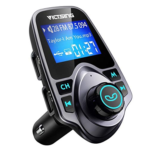 VicTsing FM Transmitter, Bluetooth FM Transmitter Radio Adapter Car Kit with 5V 2.1A...