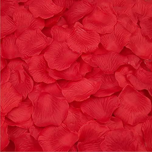 Pétales de Rose Artificielles, 1000 Pièces de Pétales de Rose Fournitures de Mariage pour Allée de Mariage Confettis de Fête de La Saint-Valentin Décoration D'art Romantique (Rouge)