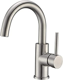 Bar Sink Faucet Crea Stainless Steel Farmhouse Bathroom Lavatory Sink Faucet Mixer,Small Kitchen Faucet Tap Brushed Nickel