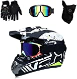 Casco Integral De Motocross Con Gafas De Visera Guantes Máscara Casco De Motocicleta Para Motos De Cross Motocross Racing Downhill Off-Road Enduro Set,BlackWhite~S