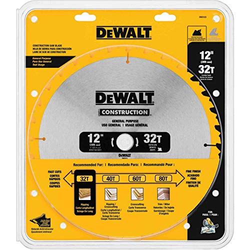 DEWALT DW3123 Series 20 12-Inch 32 Tooth ATB Thin Kerf General Purpose Miter Saw Blade with 1-Inch Arbor