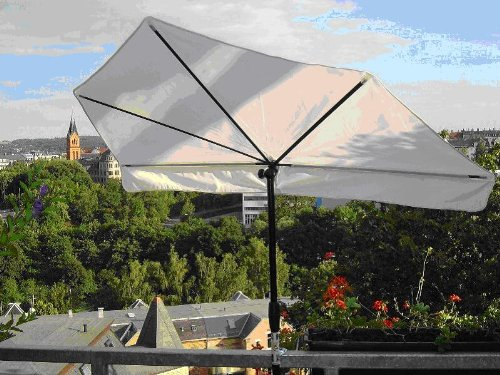 - STABIELO - EXKLUSIV Hollymat ® Balkonfächerschirm - Hollysun- AIDA - BEZUG HUSUM ZANGENBERG - Farbe NATUR / WEISS - WASCHBAR-ABNEHMBAR-AUSTAUSCHBAR -140 x 70 cm mit 360 ° schwenkbarer Universalgelenkhalterung STGVC 2030 SC + Gummikappen zur kratzfreien Befestigung für Geländer bis 40 mm Ø - INNOVATIONEN MADE in GERMANY - HOLLY PRODUKTE STABIELO ® - holly-sunshade ®