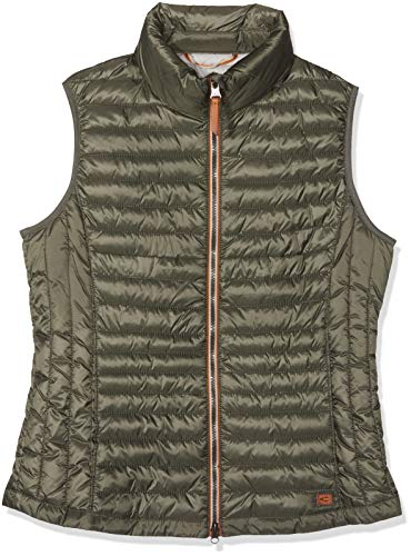 camel active Womenswear Damen Weste-Stepp Sportweste, Grün (Khaki 34), (Herstellergröße:48)