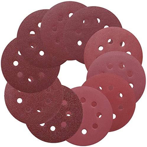 TACKLIFE Schleifscheiben für Exzenterschleifer, Ø125mm, 8 loch, 100 Stück, je 10 x 40/60/80/100/150/140/240/320/400/800 Körnung - ASD1A