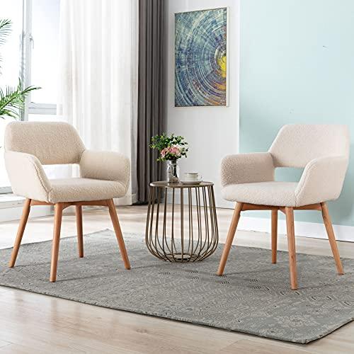Irene House Silla tocador elegante con patas de madera de haya. Silla de salón de diseño excepcional con respaldo y reposabrazos, silla butaca de recepción, silla comedor moderna. (Beige_2u)