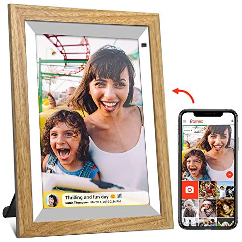 Frameo Digital Picture Frame WiFi Digital Photo Frame 10 inch with Wooden Case 1280x800 IPS Touch Screen 16GB Storage Auto-Rotate Upload Photos or Videos Remotely from Smartphone to Frame Digital Frames Picture