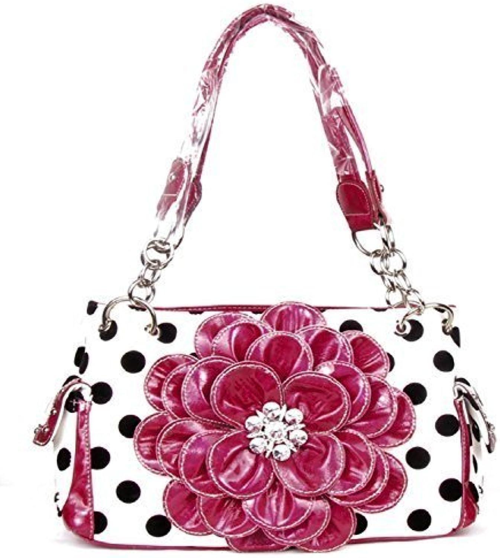 HBM Polka Dot Metal Chain Pink Rhinestone Flower Purse