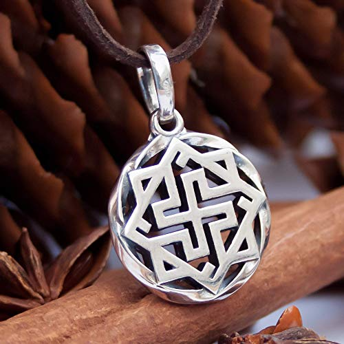925 Sterling Silver Viking Valkyrie Necklace Nordic Scandinavian Pendant Ancient Warrior Symbol Protection Amulet Wiccan Norse Mythology Jewerly for Men Women/Handmade