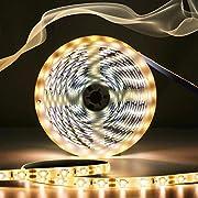 AMBOTHER LED Streifen 5m LED Strip Lichtleiste Lichtband Warmweiß 12V 6000K Wasserdicht Lichterkette für Deko Party Küche 300 LED 2835 SMD