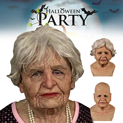lzndeal alte Frau Maske realistisch, alte Dame Halloween Silikon Kopfbedeckung Latex menschliche Kopfmaske Maskerade Party
